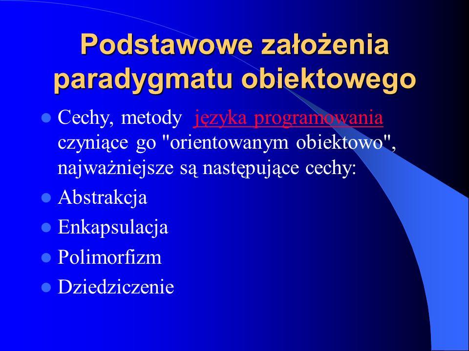 Podstawowe założenia paradygmatu obiektowego
