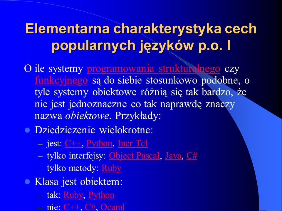 Elementarna charakterystyka cech popularnych języków p.o. I