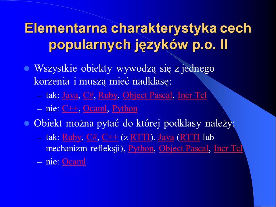 Elementarna charakterystyka cech popularnych języków p.o. II