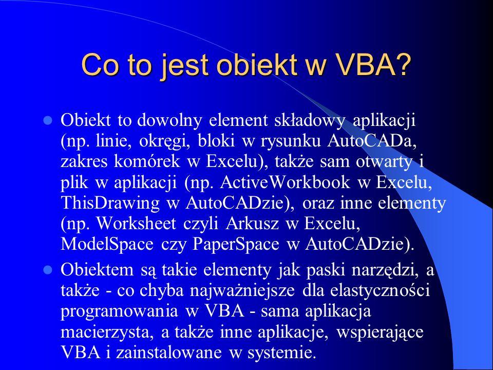 Co to jest obiekt w VBA
