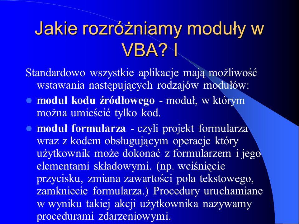 Jakie rozróżniamy moduły w VBA I