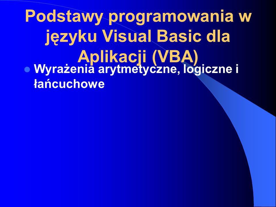 Podstawy programowania w języku Visual Basic dla Aplikacji (VBA)