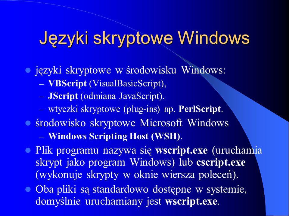 Języki skryptowe Windows