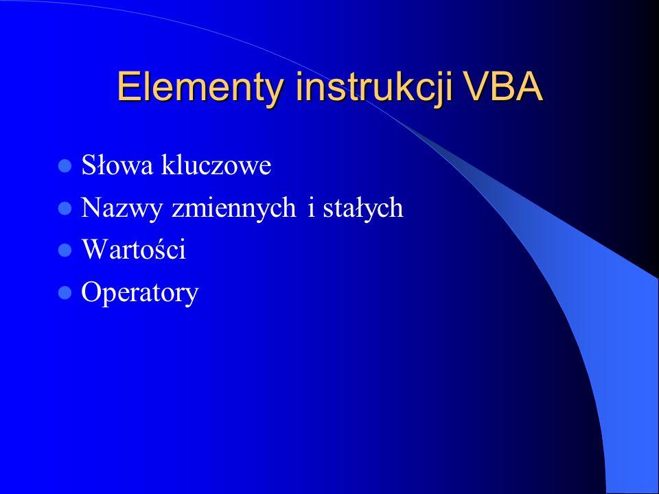 Elementy instrukcji VBA
