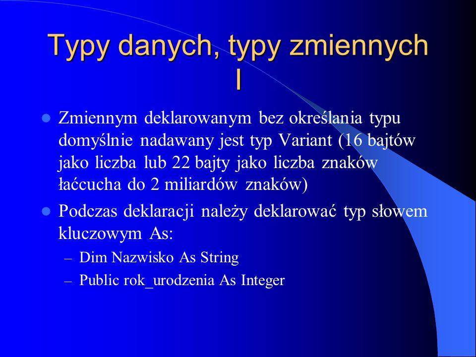 Typy danych, typy zmiennych I