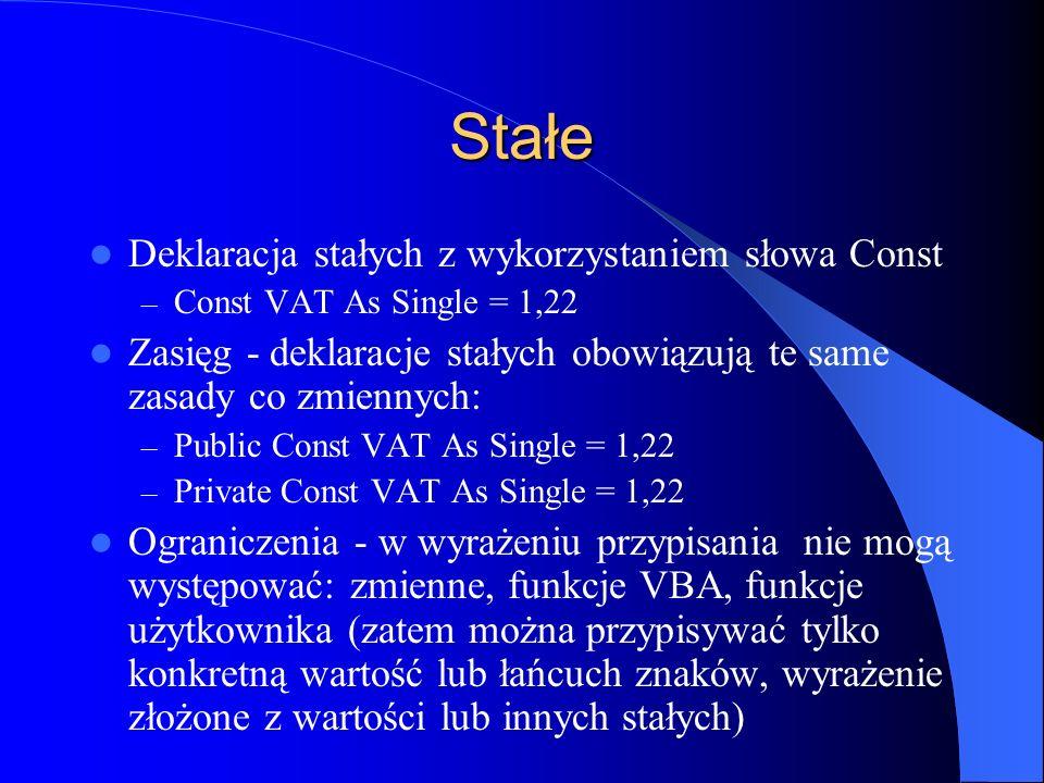 Stałe Deklaracja stałych z wykorzystaniem słowa Const