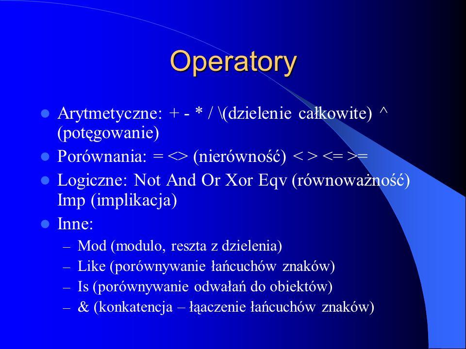 Operatory Arytmetyczne: + - * / \(dzielenie całkowite) ^ (potęgowanie)