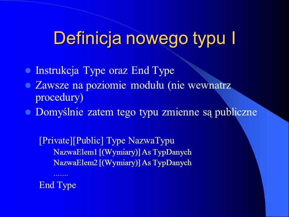 Definicja nowego typu I