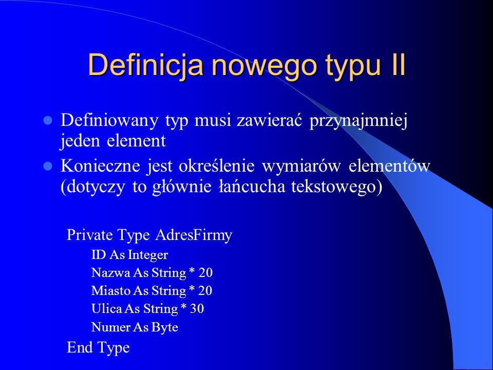 Definicja nowego typu II