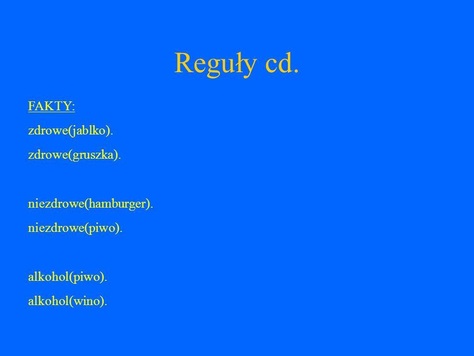 Reguły cd. FAKTY: zdrowe(jablko). zdrowe(gruszka).