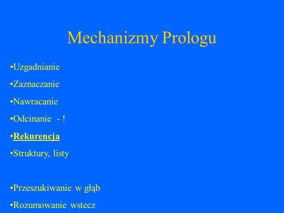 Mechanizmy Prologu Uzgadnianie Zaznaczanie Nawracanie Odcinanie - !