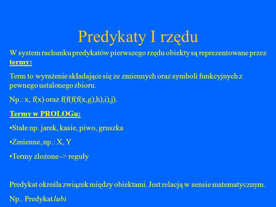 Predykaty I rzędu W system rachunku predykatów pierwszego rzędu obiekty są reprezentowane przez termy: