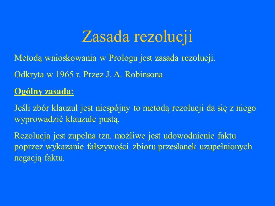 Zasada rezolucji Metodą wnioskowania w Prologu jest zasada rezolucji.
