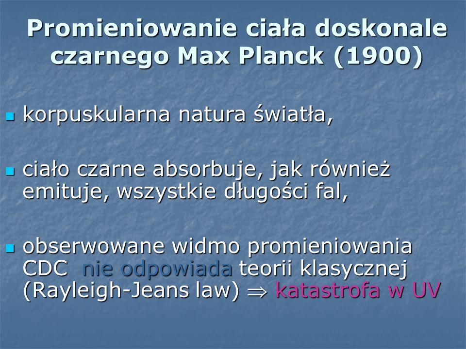 Promieniowanie ciała doskonale czarnego Max Planck (1900)