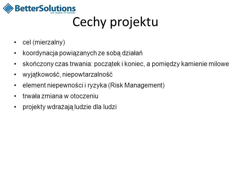 Cechy projektu cel (mierzalny) koordynacja powiązanych ze sobą działań