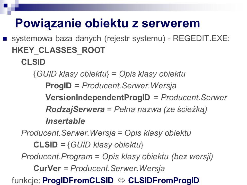 Powiązanie obiektu z serwerem