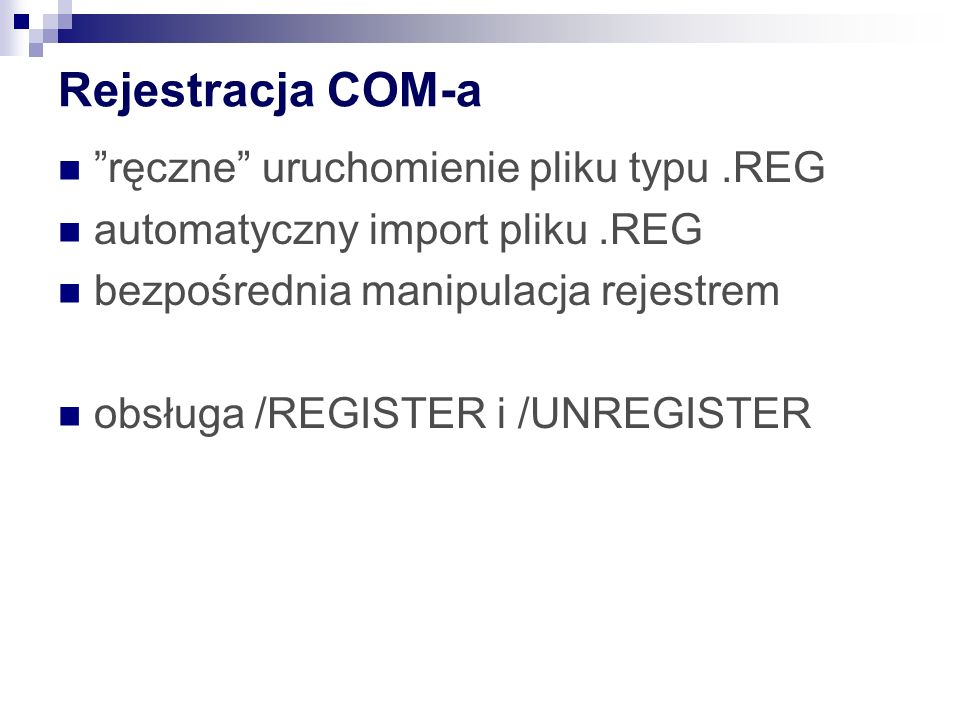 Rejestracja COM-a ręczne uruchomienie pliku typu .REG