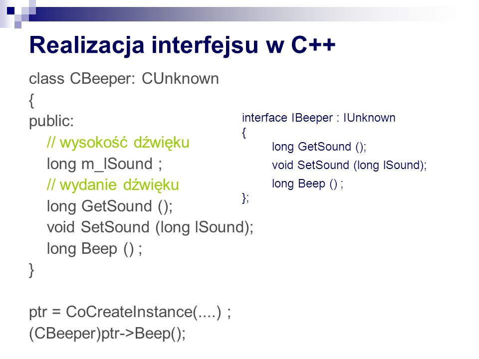 Realizacja interfejsu w C++