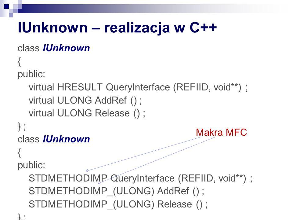 IUnknown – realizacja w C++