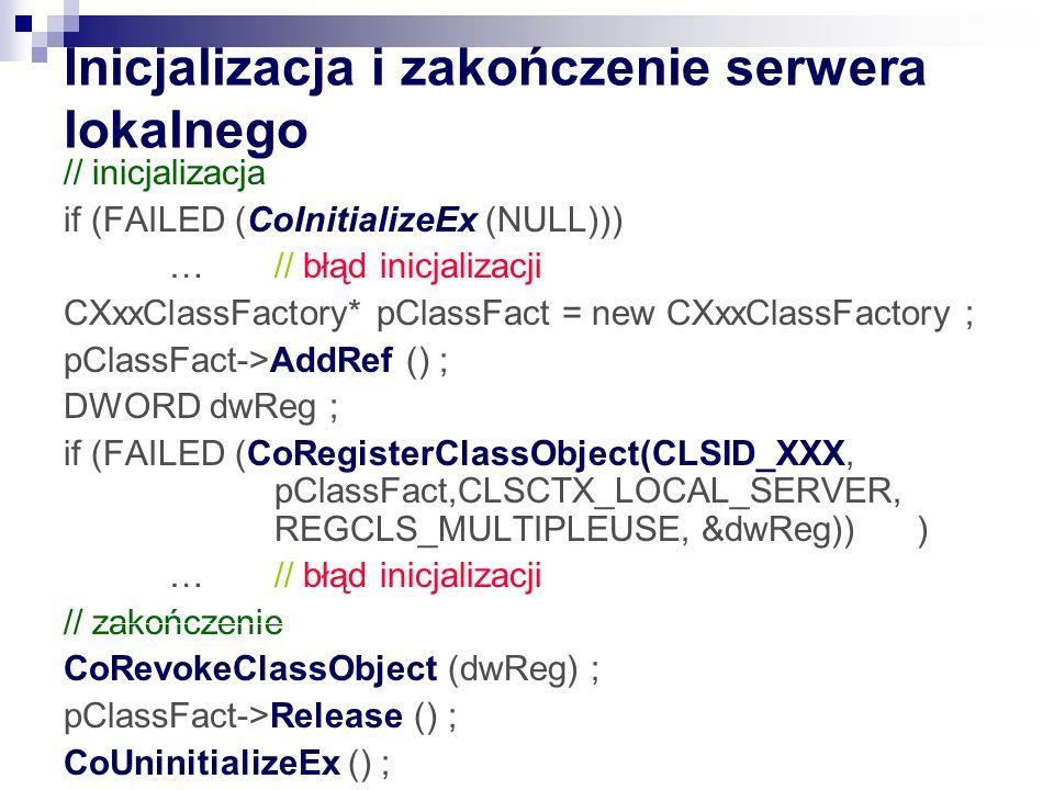 Inicjalizacja i zakończenie serwera lokalnego
