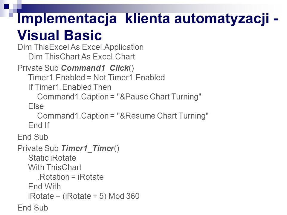 Implementacja klienta automatyzacji - Visual Basic