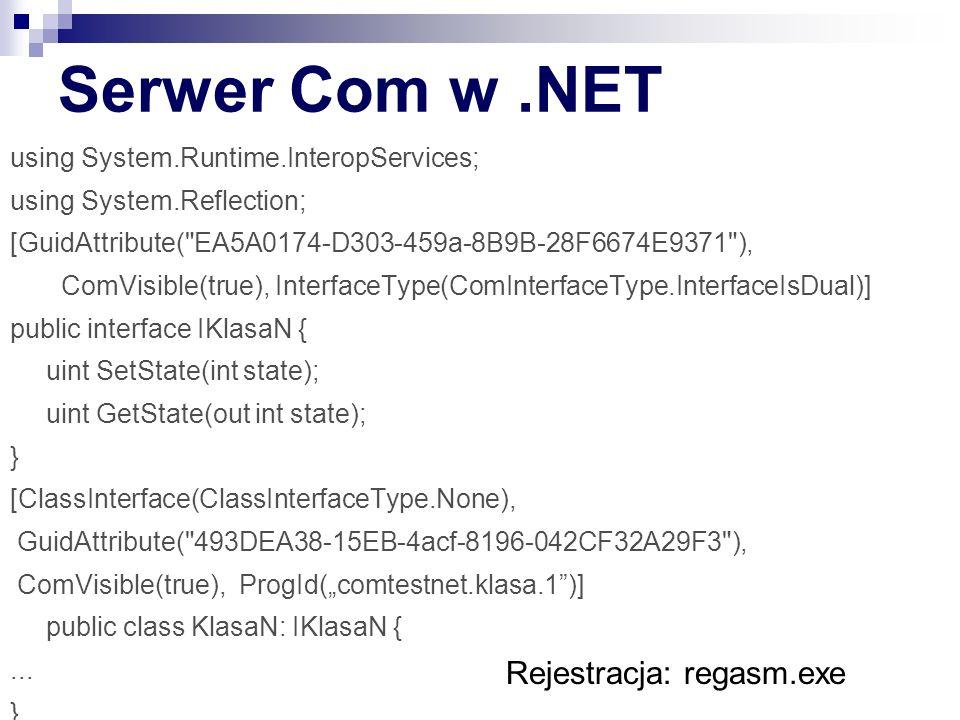 Serwer Com w .NET Rejestracja: regasm.exe