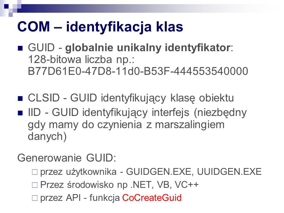 COM – identyfikacja klas