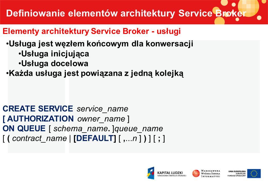 Definiowanie elementów architektury Service Broker