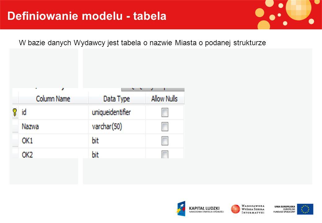 Definiowanie modelu - tabela