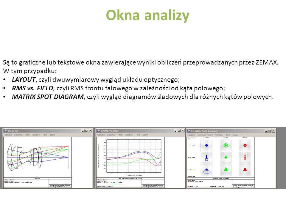 Okna analizy Są to graficzne lub tekstowe okna zawierające wyniki obliczeń przeprowadzanych przez ZEMAX.