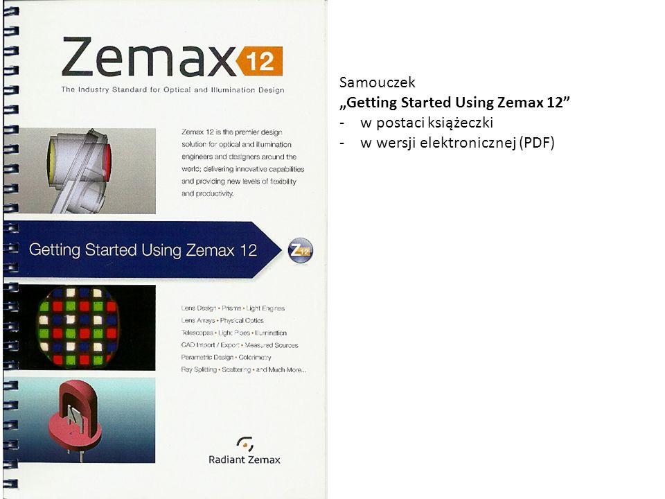 """Samouczek """"Getting Started Using Zemax 12 w postaci książeczki w wersji elektronicznej (PDF)"""