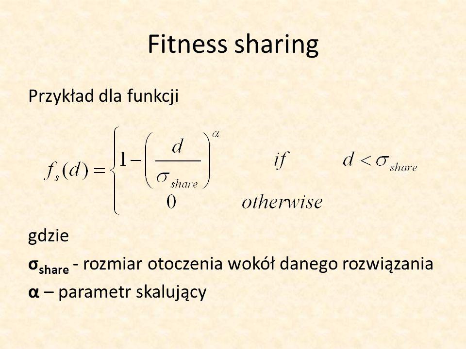 Fitness sharingPrzykład dla funkcji gdzie σshare - rozmiar otoczenia wokół danego rozwiązania α – parametr skalujący