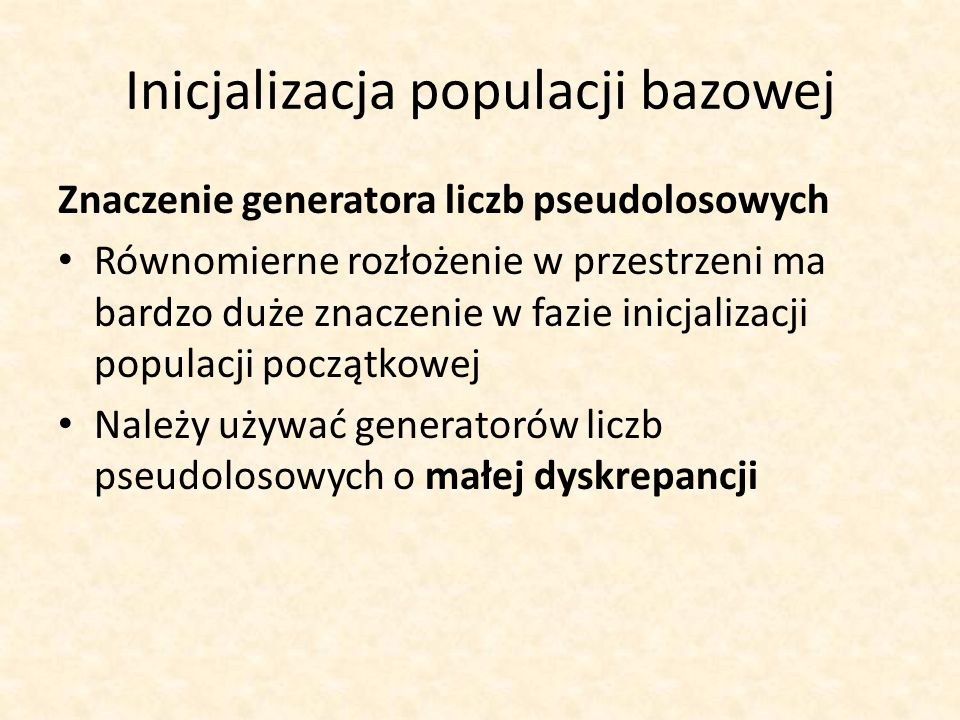 Inicjalizacja populacji bazowej