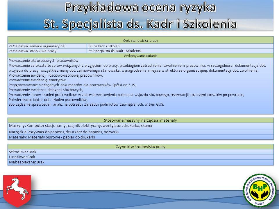 Przykładowa ocena ryzyka St. Specjalista ds. Kadr i Szkolenia