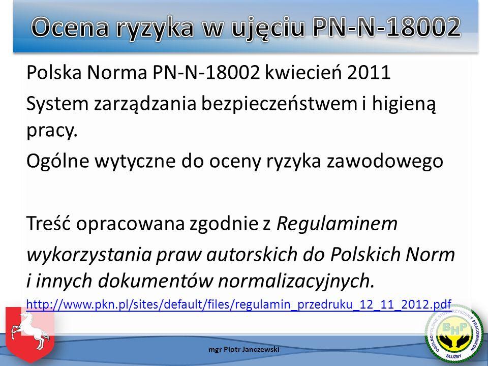 Ocena ryzyka w ujęciu PN-N-18002