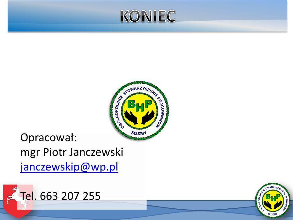 KONIEC Opracował: mgr Piotr Janczewski janczewskip@wp.pl Tel. 663 207 255
