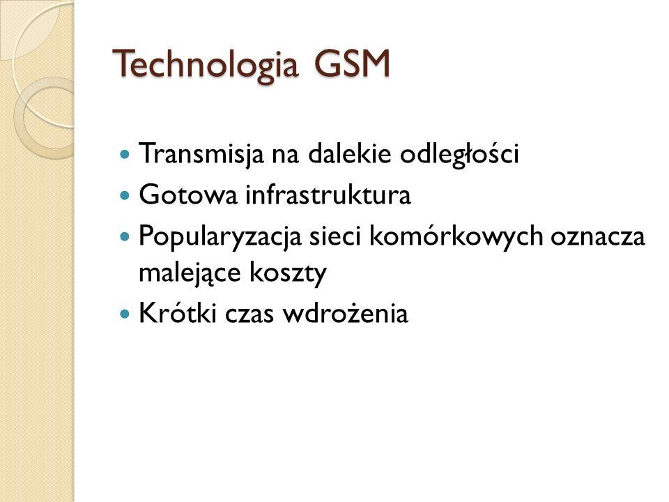 Technologia GSM Transmisja na dalekie odległości Gotowa infrastruktura
