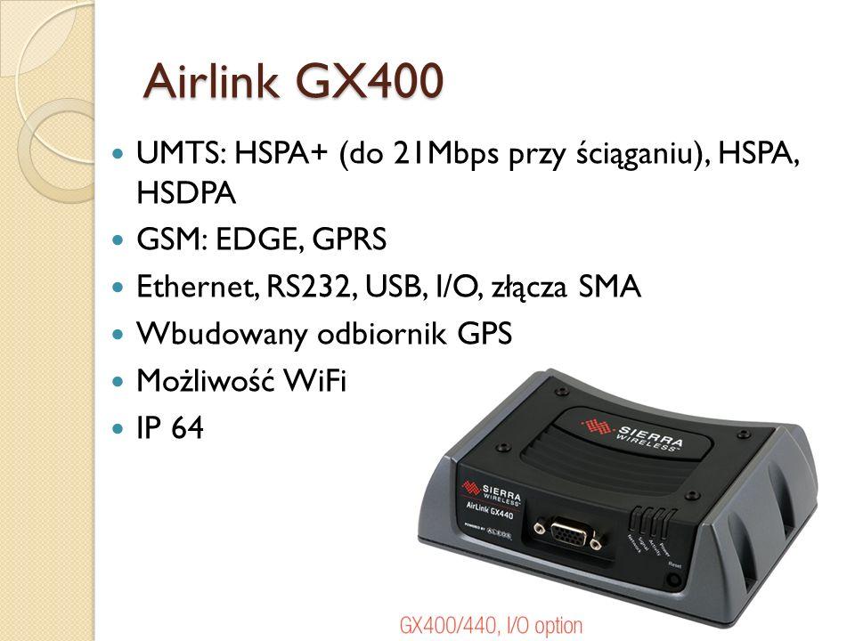 Airlink GX400 UMTS: HSPA+ (do 21Mbps przy ściąganiu), HSPA, HSDPA