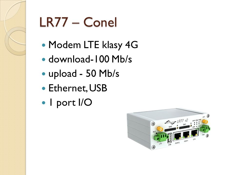 LR77 – Conel Modem LTE klasy 4G download-100 Mb/s upload - 50 Mb/s