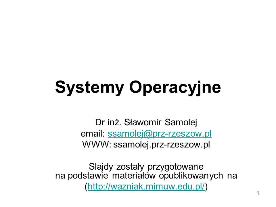Systemy Operacyjne Dr inż. Sławomir Samolej