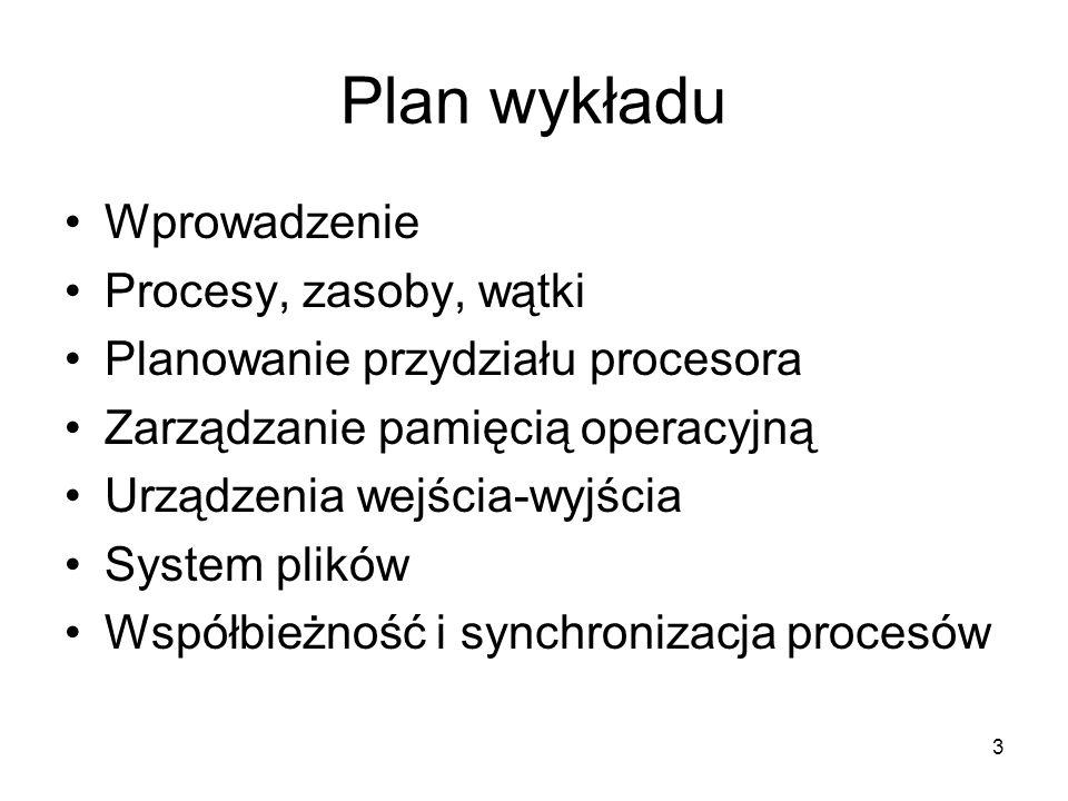 Plan wykładu Wprowadzenie Procesy, zasoby, wątki
