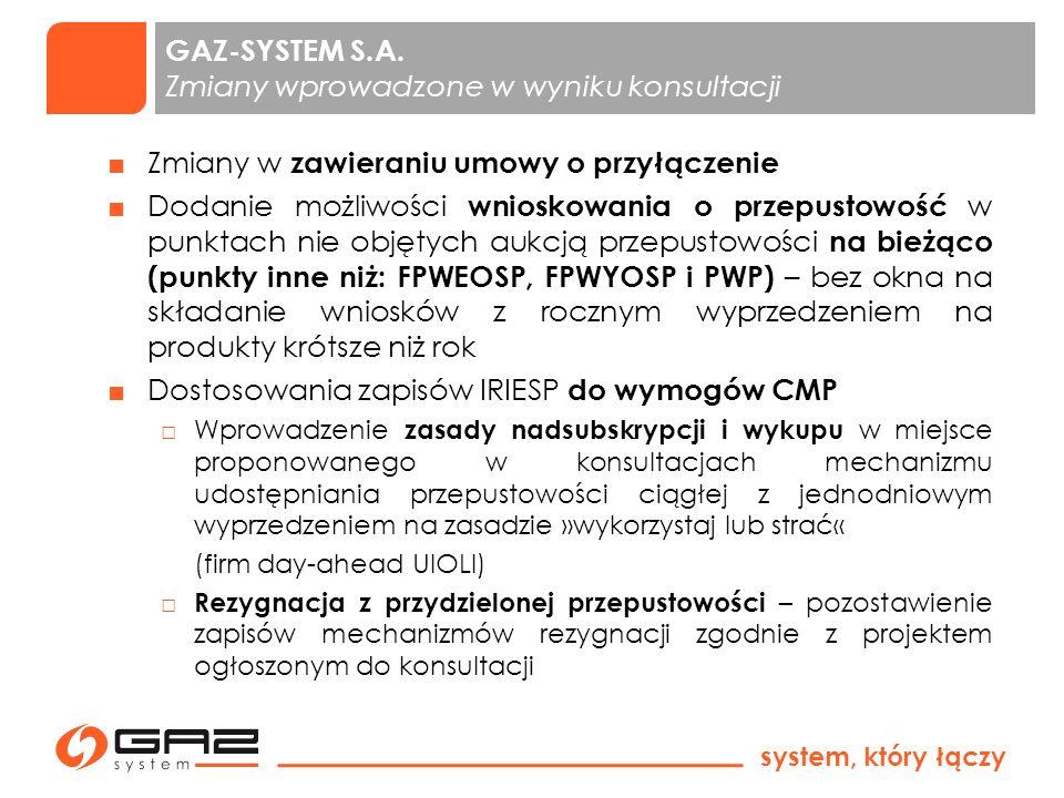 GAZ-SYSTEM S.A. Zmiany wprowadzone w wyniku konsultacji