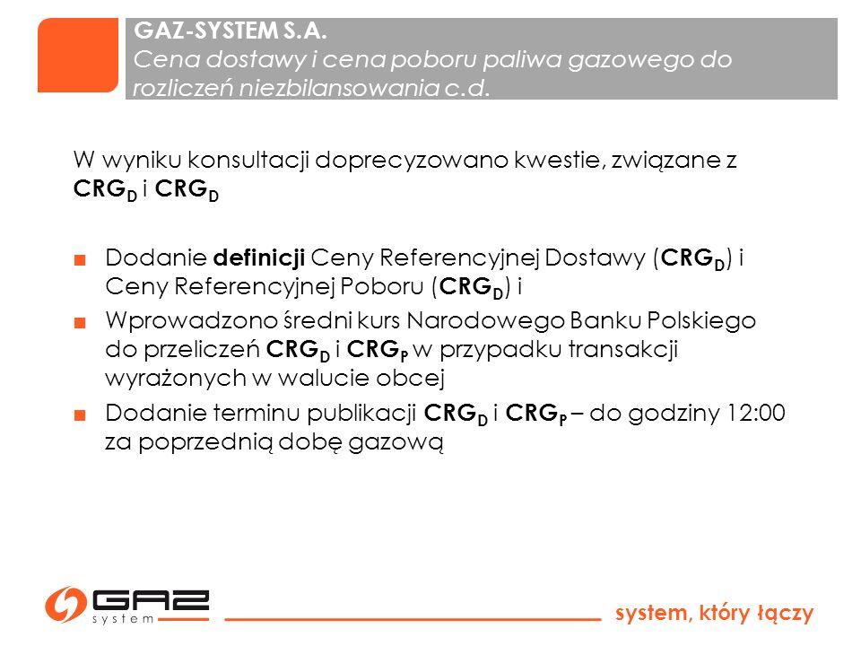 GAZ-SYSTEM S.A. Cena dostawy i cena poboru paliwa gazowego do rozliczeń niezbilansowania c.d.