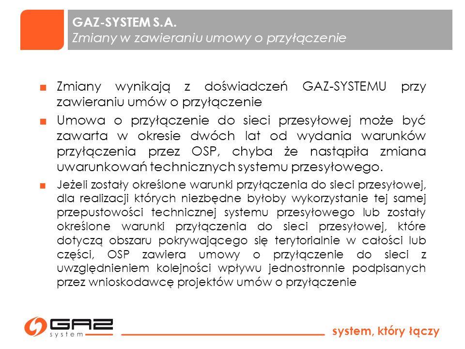 GAZ-SYSTEM S.A. Zmiany w zawieraniu umowy o przyłączenie