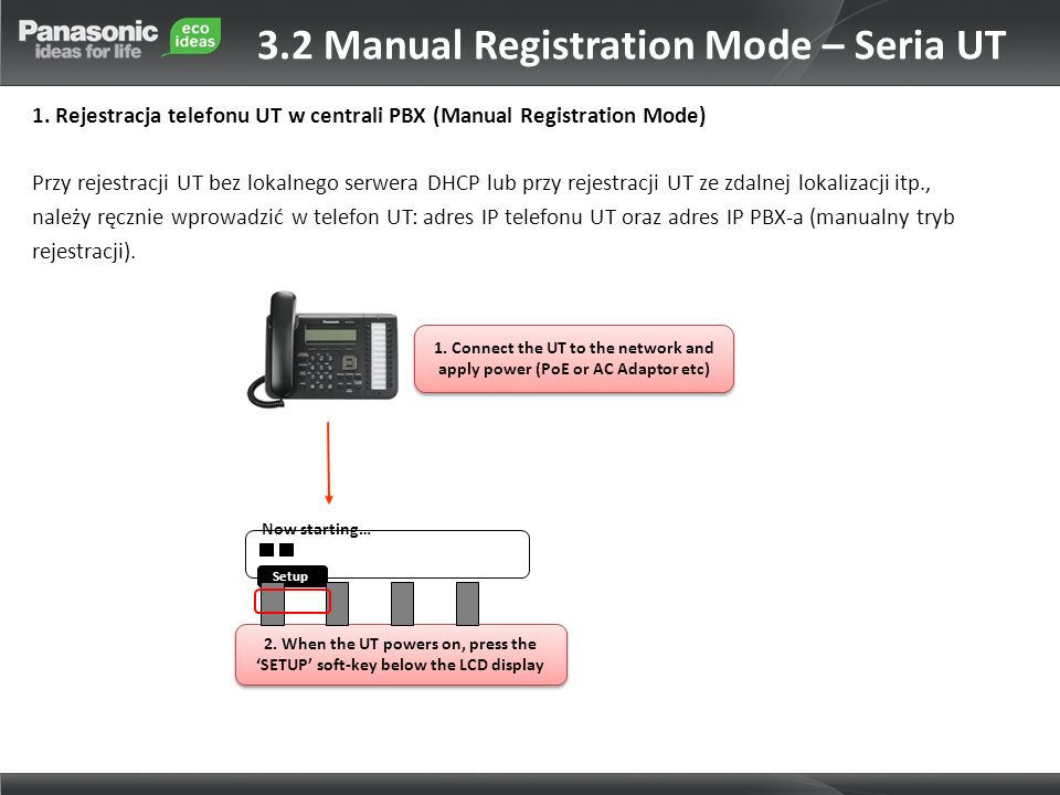 3.2 Manual Registration Mode – Seria UT