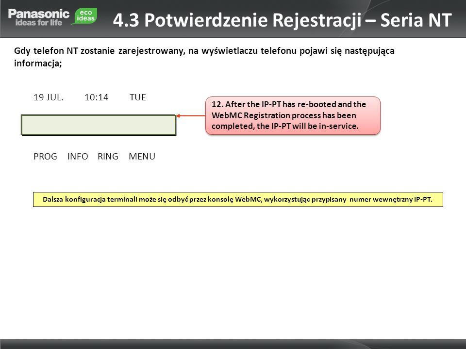4.3 Potwierdzenie Rejestracji – Seria NT