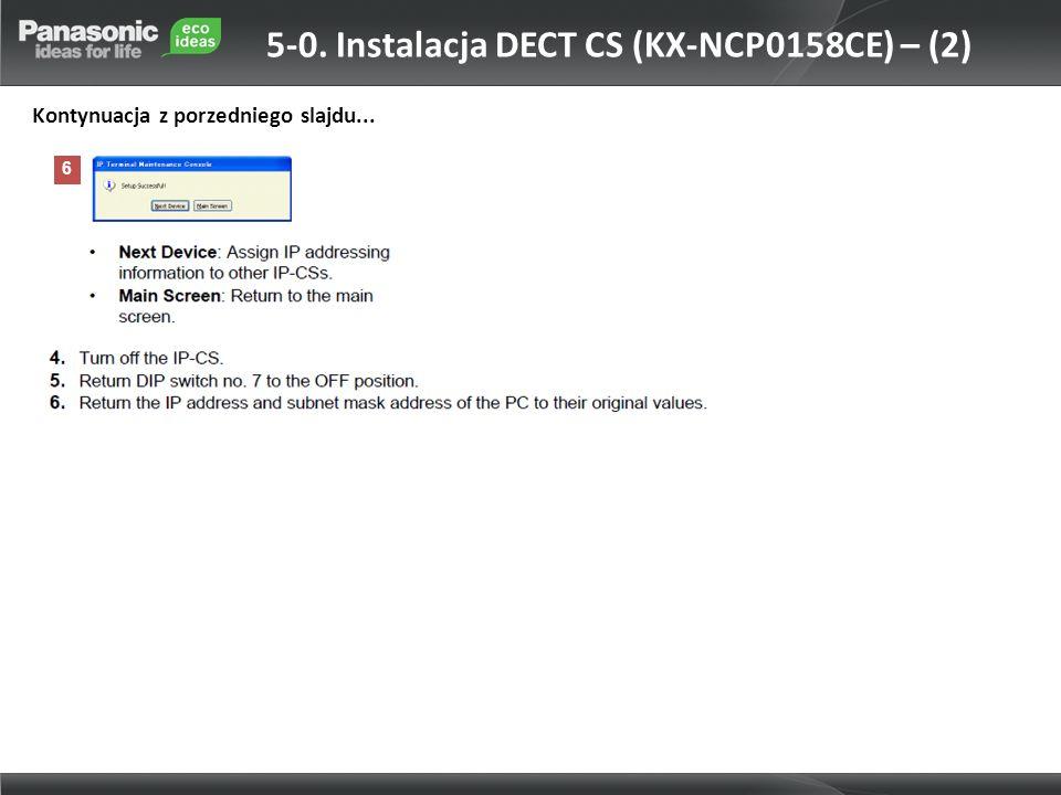 5-0. Instalacja DECT CS (KX-NCP0158CE) – (2)