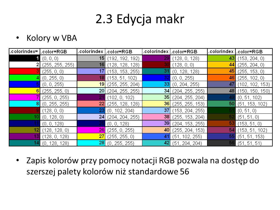 2.3 Edycja makr Kolory w VBA