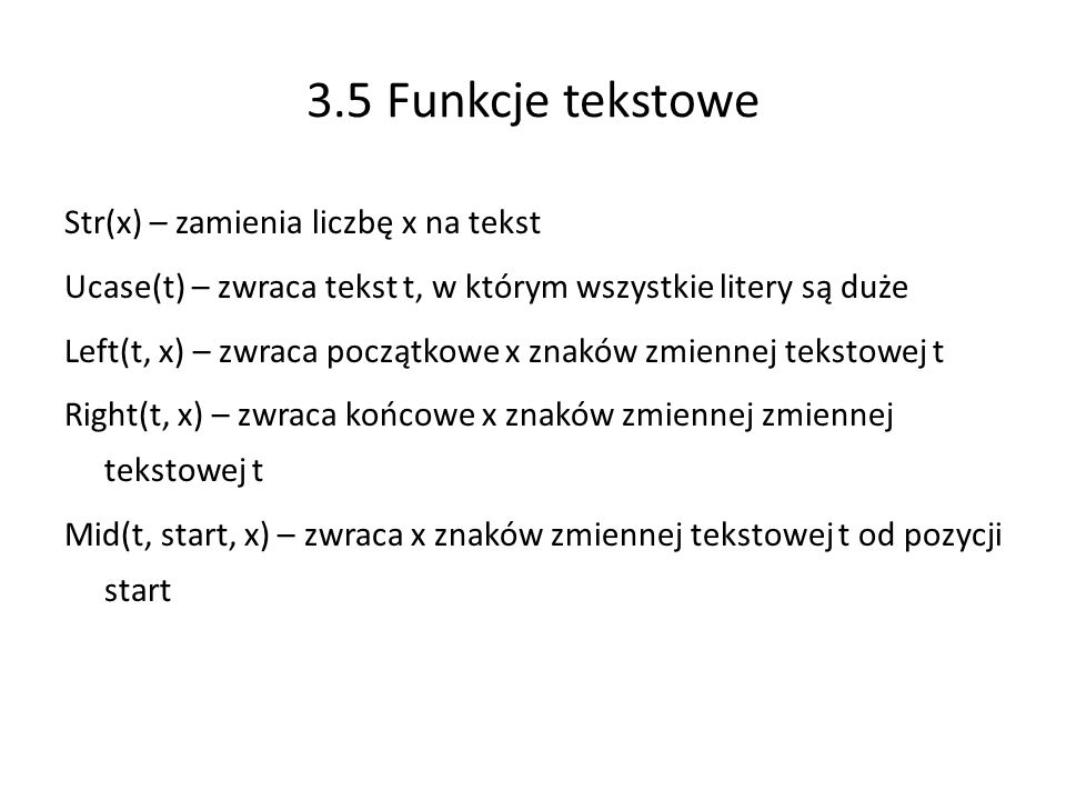 3.5 Funkcje tekstowe