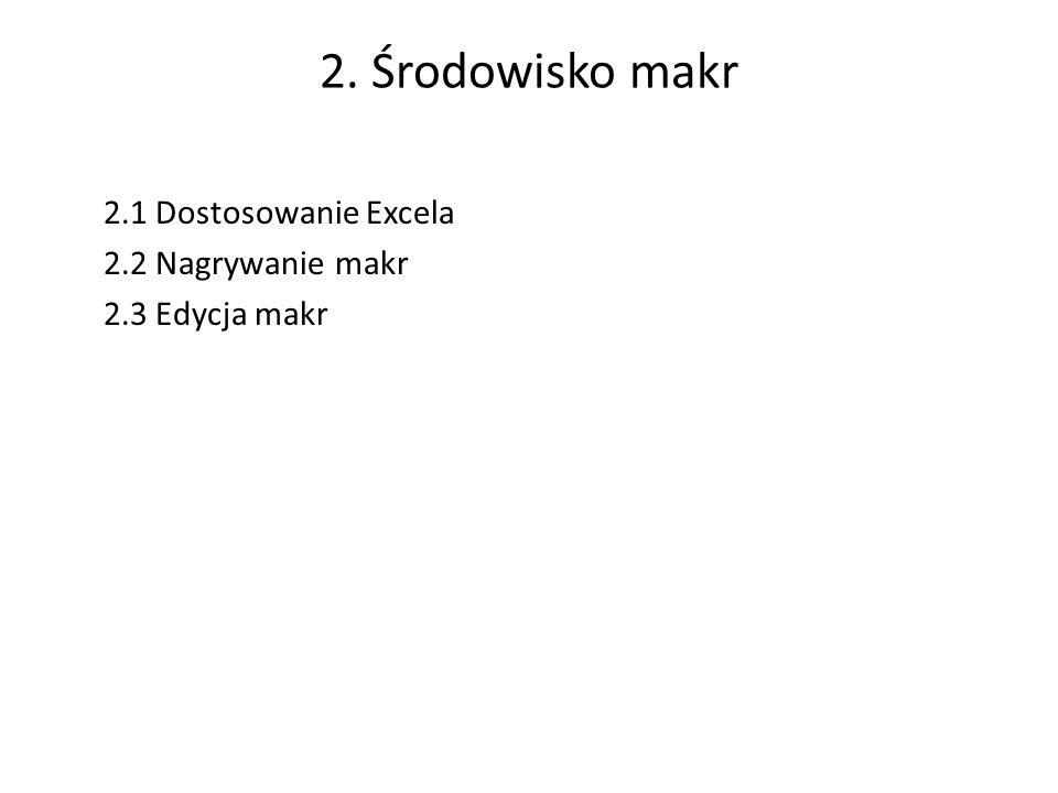 2. Środowisko makr 2.1 Dostosowanie Excela 2.2 Nagrywanie makr 2.3 Edycja makr